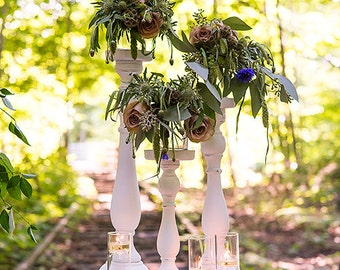 Wedding Centerpiece Flower Holders, Spindle Candle Holders, Spindle Floral Holders, Shabby Chic Wedding Candle Holders