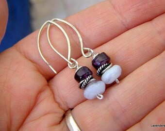 Amethyst and Blue Lace Agate Earrings , Gemstone Earrings , Sterling Silver Earrings ,  Stone Dangle Earrings , Birthstone Earrings