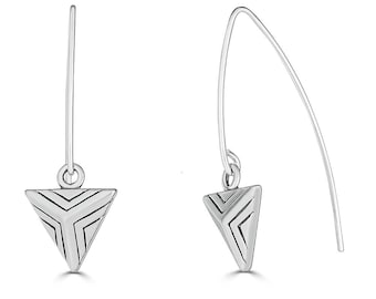 Geometric Earrings Silver, Geometric Earrings Triangle, Triangle Earrings Dangle, Triangle Earrings Sterling Silver