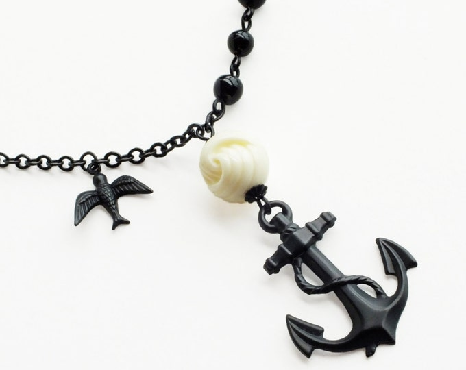 Anchor Pendant Necklace Large Anchor Black Brass Vintage Rope Knot Beads Black White Sailor Nautical Jewelry