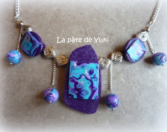 Purple turquoise handmade polymer clay necklace