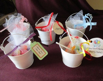 Handmade Personalized Mini Tin Pail Favor for Wedding/Bridal Shower/Baby Shower/Birthday Party