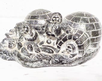 Vintage Igloo sculpture ,inuit art sculpture ,Tom Wolf sculpture , black and white soapstone