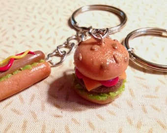 Cheeseburger, hotdog keychain. Handmade. Free shipping