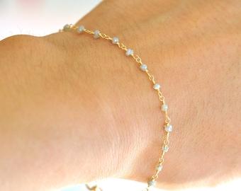 18K Gold. Raw Diamond Bracelet,  18K Yellow Gold Raw Diamond Beaded Bracelet, April Birthstone Jewelry, Gift For Her