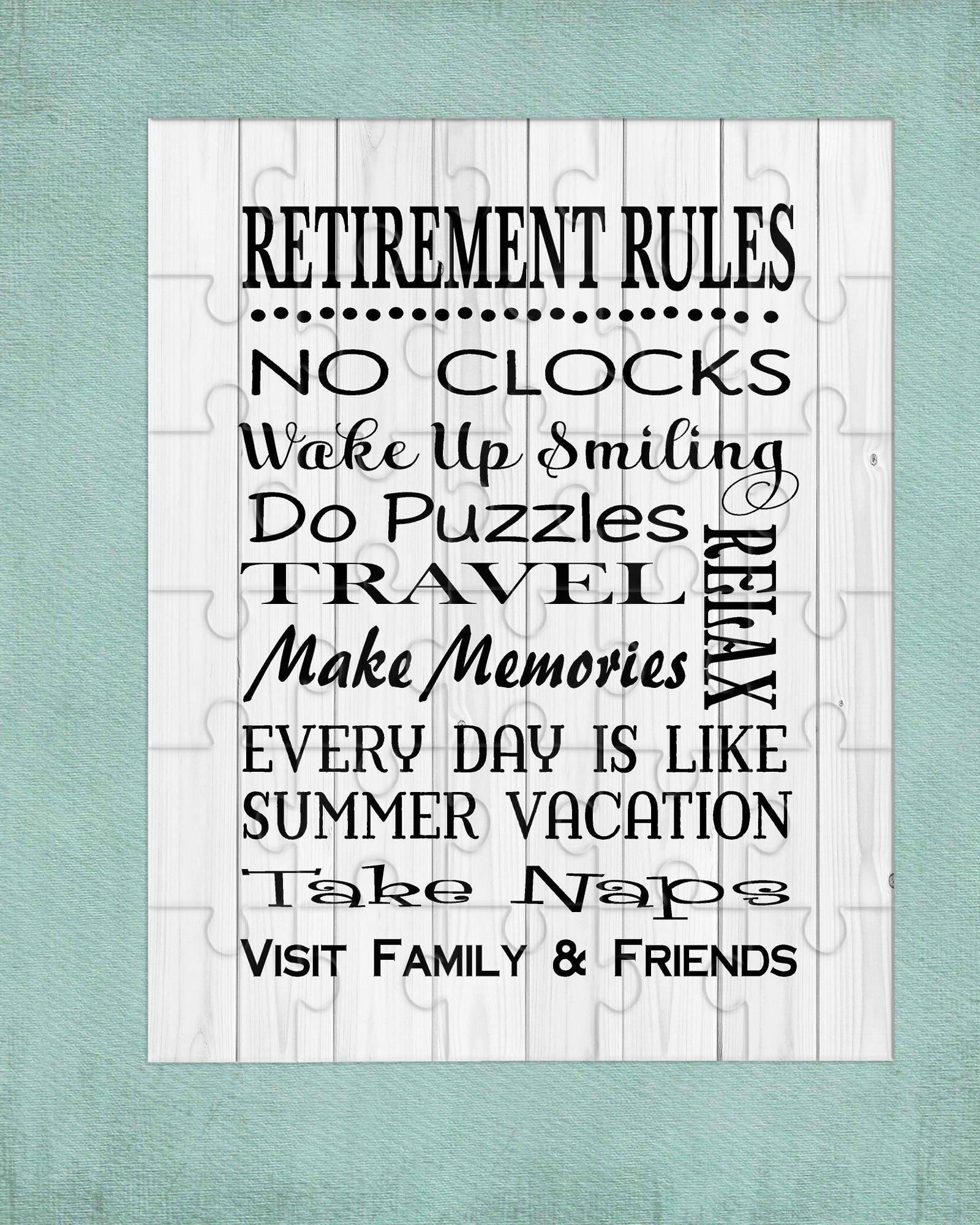 Retirement Rules Puzzle Retirement Gift Birthday Gift
