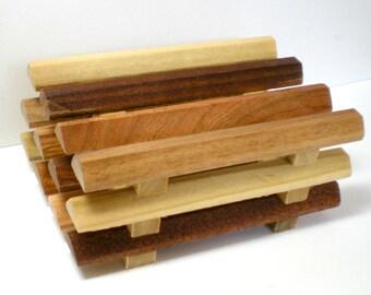 Soap Dish, Triangle Plank Multi Wood Soap Dish, Soap Saver, Bathroom Soap Dish, Draining Soap Dish, Soap Holder