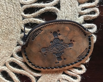 Leather Coin Purse, Santa Fe, Southwestern, Aztex