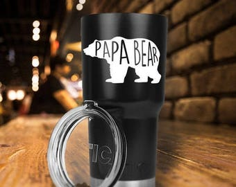 RTIC Tumbler/20oz or 30oz/Double Wall Stainless Steel/Papa Bear/Bear/Dad/Father's Day Gift/Gifts for Him/Birthday Gift/Fast Shipping