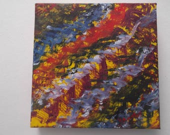 """Original oil on canvas colorful ripples abstract painting signed by artist V. Anstey size 8"""" X 8"""""""