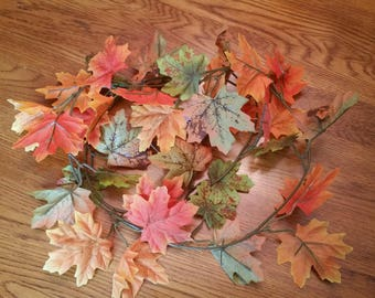 6 Foot Long Muted Fall Tones of Orange & Green Maple Leaf Garland
