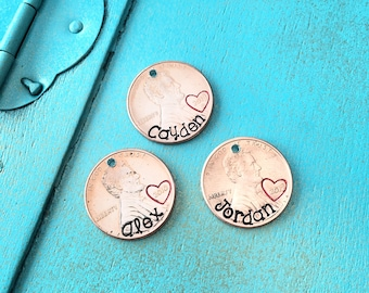 Personalized Penny, Penny Charms, Personalized Penny Charms, Charms, Charm Necklace, Hand Stamped Penny Charm, Hand Stamped Penny, Lucky
