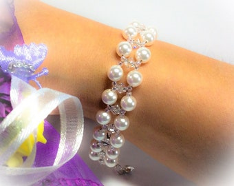 Bridal cuff bracelet, swarovski Pearl and crystal, triple row with Sterling silver, custom colours and made to measure, vintage style