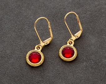 January Birthstone Jewelry, Garnet Earrings, Petite Drop Earrings, Gold Birthstone Earrings