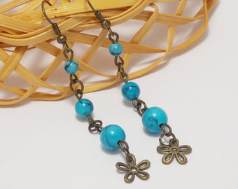 Anniversary gift for auntie gift mom something blue turquoise earrings primitive flower earrings gemstone earrings dangle earrings for women