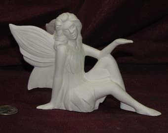 Ceramic Bisque U-Paint Fairy Sitting Unpainted Doc Holliday Pixie Ready To Paint Fae DIY PYOP Faerie Fantasy Mystical Magical