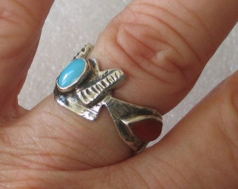 SALE Size7  Funky Turquoise  and Coral Sterling Silver Ring