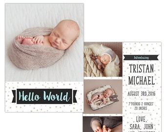 Birth Announcement Photoshop Template--Instant Download n106