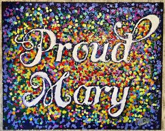 "Proud Mary - Original Ecaustic Crayola Artwork 16"" X 20"""