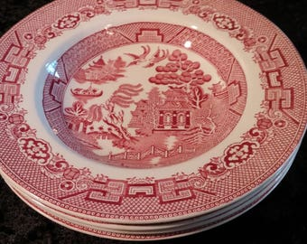 Pink Willow Red Willow Allertons England Vintage Rimmed Fruit Salad Bowls Set of & Allertons Red Willow Transfer Pink willow Pattern Antique Red