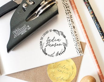 Custom Seal Embosser, Book Plate, Book Stamp, Library Stamp, Library Embosser, Book Embosser, From the Library of Embosser, Book Lover Gifts