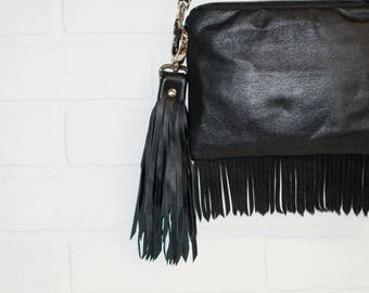 """10"""", black tassel, leather tassel, recycled leather, leather bag charm, leather fringe, leather keychain, upcycled, wholesale, stacylynnc"""