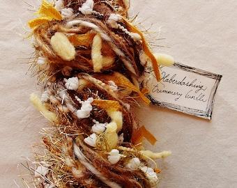Peanut Brittle brown tan caramel white gold tinsel twine pom fringe Novelty Fiber Yarn Sampler Bundle