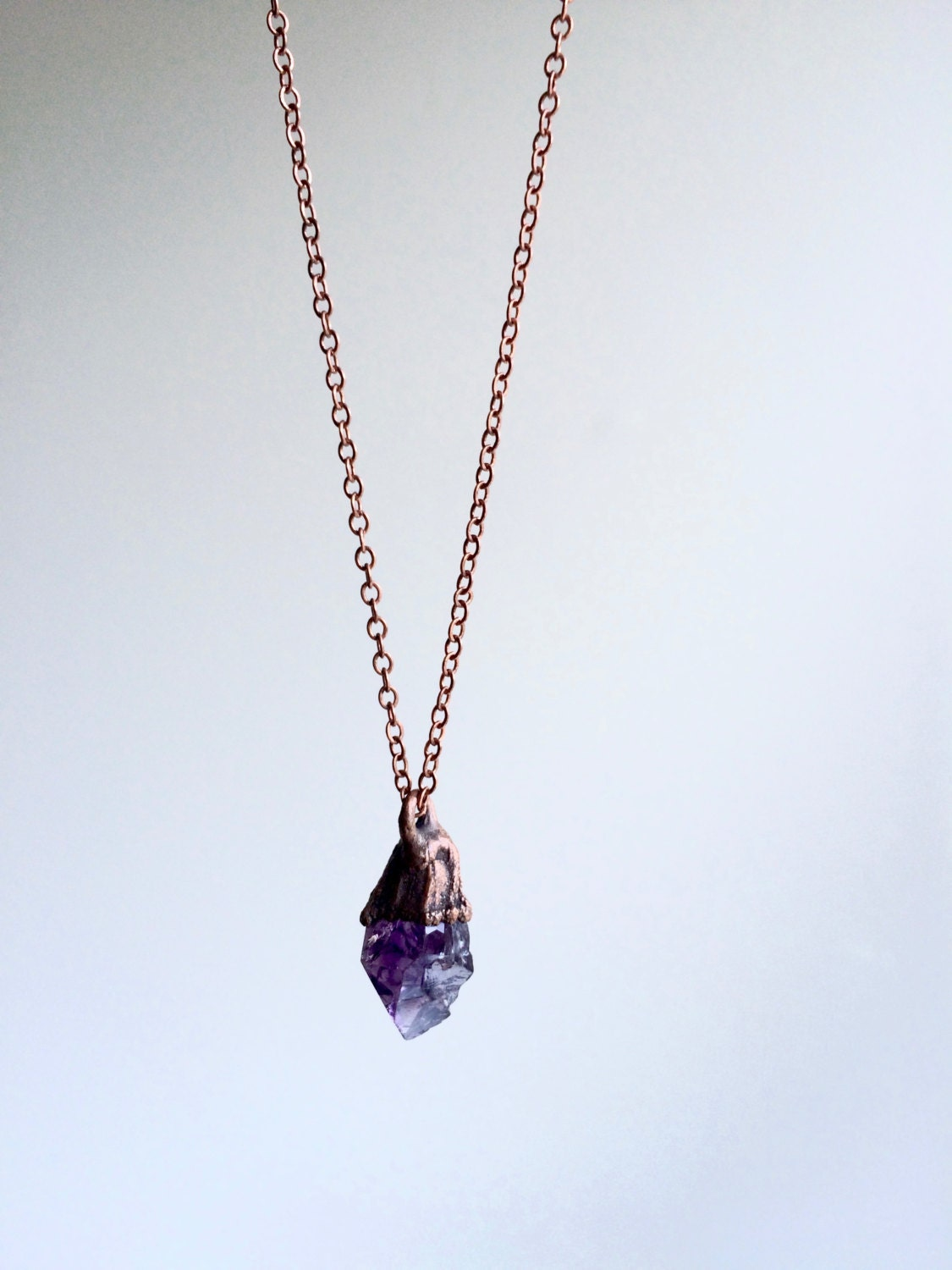 raw necklace crystal amethyst rough cluster druzy pendant