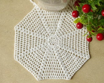 Small crochet doily White crocheted doily Cotton lace doilie Small crochet doilies Lace coaster 434