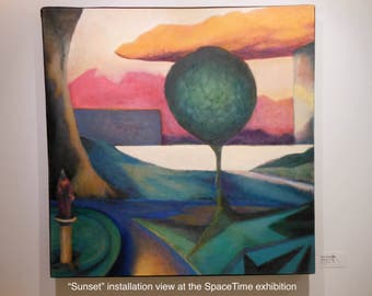Sunset - large original oil painting  - view of an urban park with an geometric landscape and a hanging cloud,  abstract modern colorful