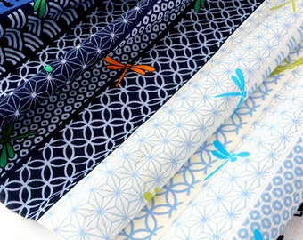 Fabric Japanese kimono traditional geometric pattern blue x 50cm