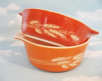 Vintage Pyrex Autumn Harvest Wheat Casserole Dishes