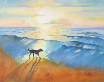 "16 x 12 Oil Painting. ""Border Collie at Sunrise"" Dog on the Beach. Original Art. Seaside Home Decor. Pet Lovers Gift."