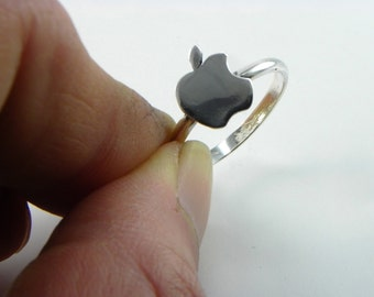 Apple ring in silver 800 - made in italy