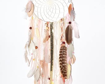 Large, eclectic dream catcher, translucent and shiny, golden accents, BoHo chic, Peach and Pink, unique, posh pax designs