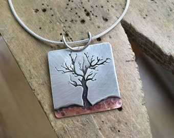 Silver and Copper Tree Necklace; Handmade Sterling Silver