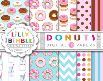 Donut digital paper with donuts, milk bottles, for birthday invites, scrapbooking, Instant Download commercial use