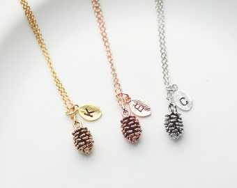 Rose Gold Pinecone Necklace Personalized Gift For Kids 3 Best Friend Necklace Leaf Necklace Pine Cone Necklace Planter Gift - 3PCN-L