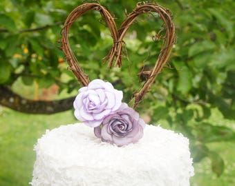 Rustic Vine Heart Cake Topper With Purple Roses