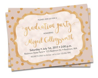 Graduation Invitation Pink and Gold, Pink and Gold Graduation Invitation Printable, Graduation Party Invitation Pink and Gold, 2018 Invite