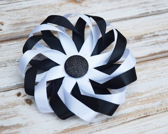 hair bow, hair clip, flower hair bow, black and white hair bow, black and white hair clip, flower for hair, wedding hair bow, bridal hair