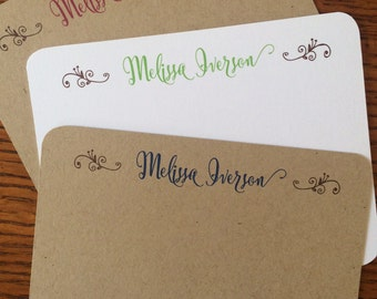 Personalized Note Cards - Flat, Rounded - Set of 12 - Great Gift, Bridesmaids, Teachers