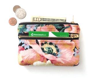 Floral Wallet Coin Purse Double Zipper Pouch