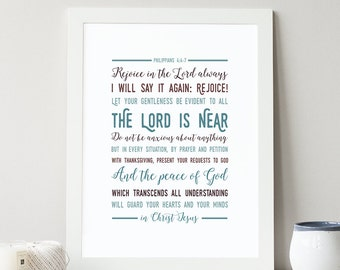 Philippians 4:4-7 Printable, Bible Verse Art, Scripture Print, Typography Wall Quote, Instant Download, Art Print, High-res Printable