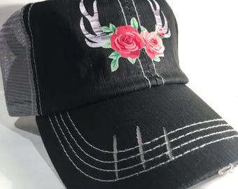 Bohemian antler trucker hat