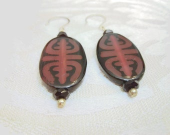 RARE Fire Agate Dangle Earrings, Dark Brown Handcrafted Earrings, Unusual Artisan Design Earrings, 1 inch
