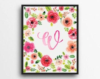 Monogram Letter W Print | Floral Wreath Monogram | Initial Print | Watercolor Floral Print | Digital Download