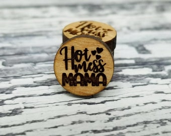12mm | Engraved Wood Finding HOT MESS MAMA Quote Saying Word Art | Cabochons Stud Earring Embellishments | Laser Cut