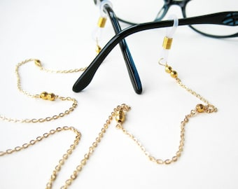 Gold Eyeglass Chain, Faceted Gold Plated Reading Glasses Lanyard, Golden Sunglasses Cord, Flat Cable Chain Eyeglasses Holder, Sunny