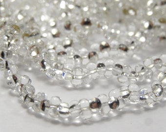 Farfalles Glass Bead 2x4 mm Crystal Silver Lined  3 Long Strand